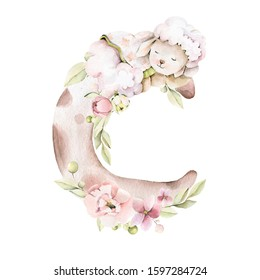 Hand drawing watercolor сhildren's illustration- cute little lamb sleeping on the moon with pink flowers, leaves. illustration isolated on white