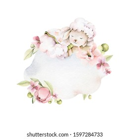 Hand drawing watercolor сhildren's illustration - cute sleeping lamb on the cloud with pink flowers of peony, leaves. illustration isolated on white