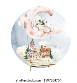 Hand drawing watercolor сhildren's illustration- cute sleeping lamb on moon with small houses on the swing with stars, clouds. illustration isolated on white