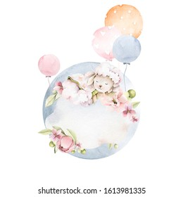 Hand drawing watercolor сhildren's illustration - cute sleeping sheep on the cloud with pink flowers of peony, leaves, balloons. illustration isolated on white