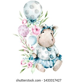 Hand drawing watercolor сhildren's illustration- hippopotamus in a dress with flowers, leaves and ballons. illustration isolated on white