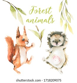 Hand drawing watercolor сhildren's illustration for party - cute dancing forest cartoon animals -  squirrel, hedgehog. Perfect for scrapbooking, cards for celebration birthday, baby shower.