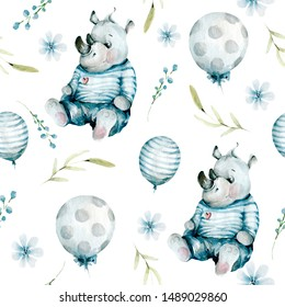 Hand drawing watercolor pattern with cute rhino, blue balloons, flowers, leaves. illustration isolated on white