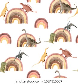 Hand drawing watercolor сhildren's pattern of cute dino and rainbow. Funny dinosaur perfect for posters, children's fabric, prints.  illustration isolated on white