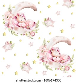 Hand drawing watercolor сhildren's pattern- cute sleeping unicorn on moon with pink flowers of peony, leaves and yellow stars. Perfect for print, textile, scrapbooking.