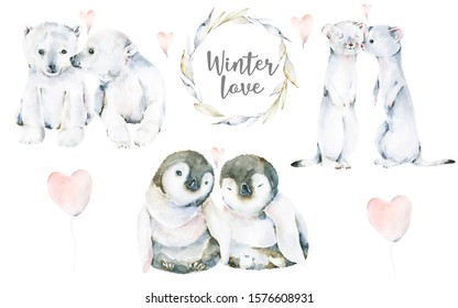 Hand drawing watercolor set of winter cute animal -  penguin, weasel, polar bear and wreath of leaves. Iillustration perfect for greeting cards, posters for St Valentine day, birthday, baby shower.