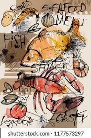 Hand drawing watercolor sketch