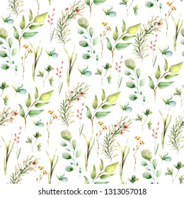 Hand drawing watercolor spring pattern with green leaves, clovers.  illustration isolated on white