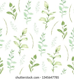Hand drawing watercolor spring Pattern of wild leaves and branches. illustration isolated on white. Perfect for summer wedding invitation and card making