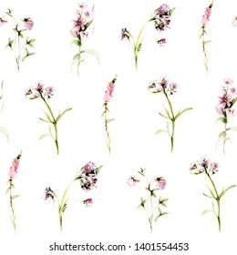 Hand drawing watercolor spring Pattern of wild flowers, leaves and branches. illustration isolated on white. Perfect for summer wedding invitation and card making