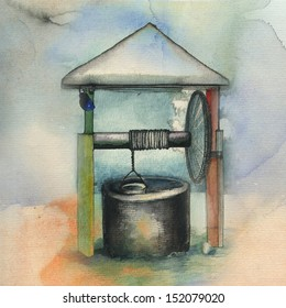 Hand drawing winter well. Original watercolor painting on paper.