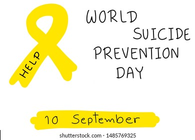 """Hand drawing. World suicide prevention day.10 September. Yellow ribbon with word """"HELP"""". Feeling fail of your life. Negative thinking."""