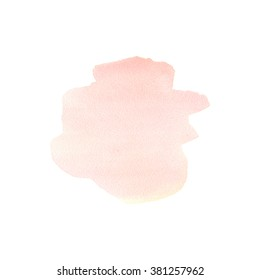 The hand drawn abstract art watercolor background of pastel natural pink or blush color. A watercolor spot. Watercolor stain. Watercolor isolated stain. Watercolor pink stain.