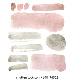 Hand drawn abstract art watercolor background of pastel natural pink, grey or blush color. Spot, stain. Watercolor powder pink stain.