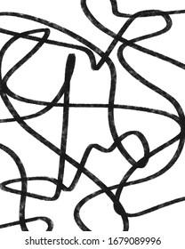 Hand Drawn abstract black line art minimal grunge texture illustration