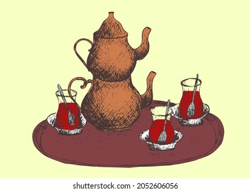 """Hand drawn abstract color  Vintage silhouette turkish mugs """"Armudu"""" with tea and a two-tier copper kettle on a tray. Teapot """"Demlik"""". Beverages. Traditional  tea ceremony.   Jpg image outline sketch"""