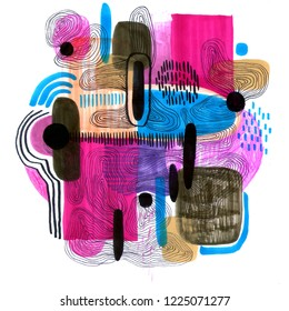 Hand drawn abstract composition of a modern art style. Raster illustration with minimalist style. Unusual trendy background.