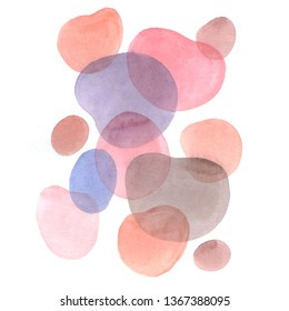 Hand drawn abstract composition of a modern art style. Raster watercolor  illustration with minimalist style.