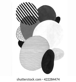 Hand drawn abstract composition of a modern art style. Raster illustration with minimalist style.