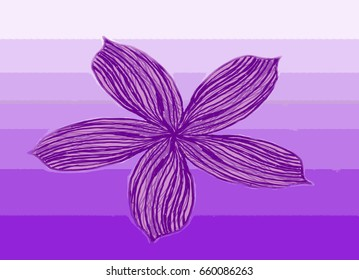 Hand drawn abstract flower. Purple stripes