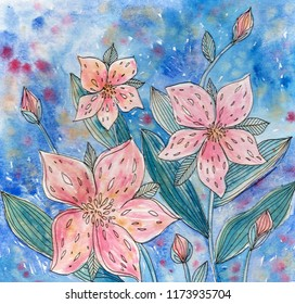 Hand drawn abstract pink flowers in blue background