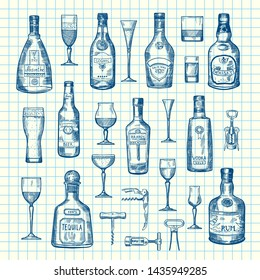 hand drawn alcohol drink bottles and glasses set of on cell sheet illustration. Absinthe and tequila, rum and vodka