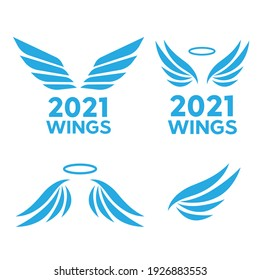 Hand drawn angel wings. Sketch of birds wings. Airforce logo icons. Avia logo