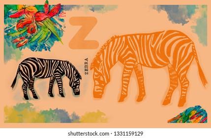 hand drawn animal for English alphabet , Zabra