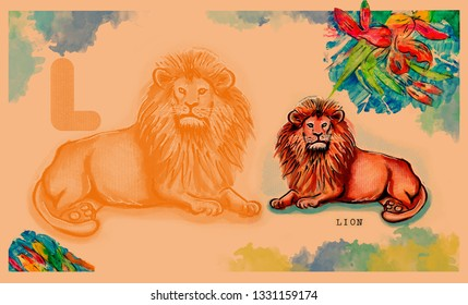 hand drawn animal for English alphabet , Lion