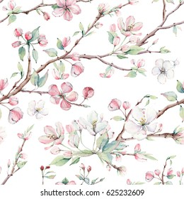 hand drawn apple tree branches and flowers seamless pattern. It's perfect for wallpaper, fabric design, textile design, cover, wrapping paper, surface textures, digital paper.