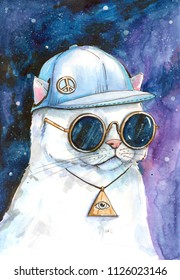 Hand drawn aquarelle colorful illustration. Watercolor artwork. White cat in baseball cap with pacifism icon and pendant with eye watch through sunglasses. Space galaxy on background.