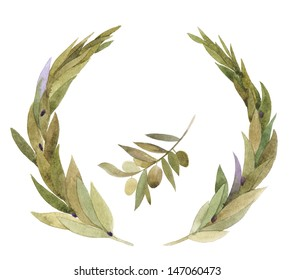 Hand drawn aquarelle laurel wreath and olive branch