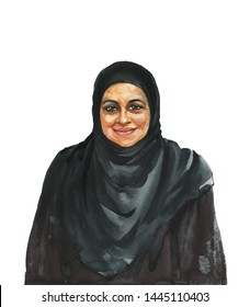 Hand drawn arabian aged woman. Watercolor portrait of smiling lady. Painting isolated illustration on white background