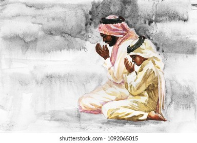 Hand drawn arabian man and son praying namaz. Watercolor Ramadan Kareem illustration. Painting isolated prayer and litlle boy on white background