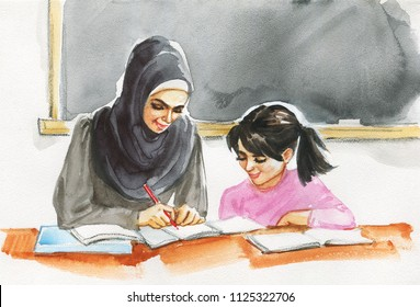 Hand drawn arabian teacher woman and pupil. Watercolor portrait of modern and free muslim lady. Sketching education illustration