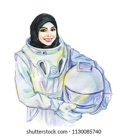 Hand drawn arabian woman cosmonaut. Watercolor portrait of modern and free muslim lady. Sketching feminist illustration on white background
