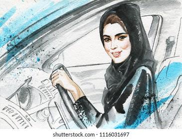 Hand drawn arabian woman drive a car. Watercolor portrait of modern and free muslim lady. Sketching feminist illustration