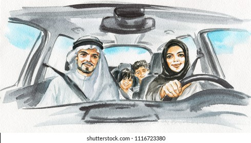 Hand drawn arabian woman drive a car. Watercolor portrait of modern and free muslim lady. Sketching family illustration
