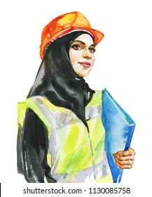 Hand drawn arabian woman engineer, architect. Watercolor portrait of modern and free muslim lady. Sketching feminist illustration on white background