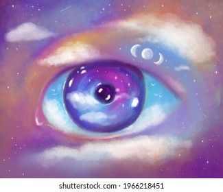 Hand drawn art illustration. A vivid picture of the third eye, higher power, energy, meditation and Buddhism. Eye framed by space, clouds, stars