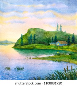 Hand drawn artistic watercolour sketch with space for text on light dusk heaven. Bright color high mount cliff slope on pond beach at summertime sundown. Lonely old rustic shack scenic outdoor view