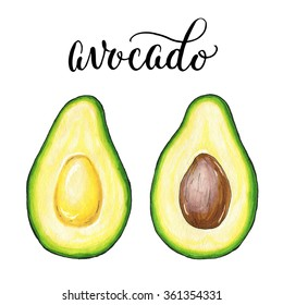 Hand drawn avocado sketch, realistic delicious illustration, isolated on white background. With hand lettering avocado inscription.