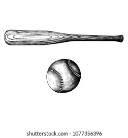 Hand drawn baseball bat and ball isolated on background