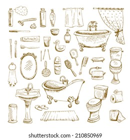 Hand drawn bathroom interior elements. Toilet and mirror, sink and towel, toothbrush and comb