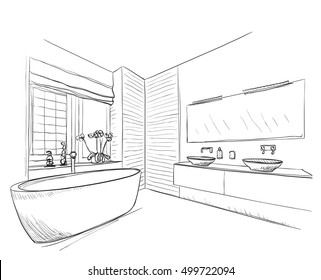 Hand drawn Bathroom with mirror, washbasin and other furniture.