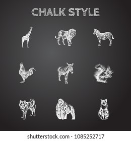 Hand drawn beast sketches set. Collection of giraffe, dog, donkey and other sketch elements.