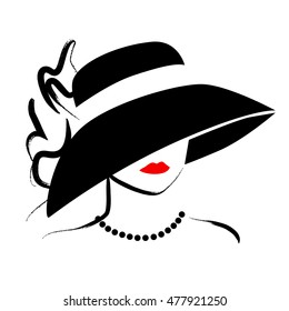 Hand drawn beautiful lady in hat portrait isolated on white background. Contour drawing. Black stroke. Fashion, beauty model. Young awesome woman silhouette. Advertisement design elements.