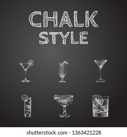Hand drawn beverage sketches set. Collection of old fashioned, daiquiri, manhattan and other sketch elements.
