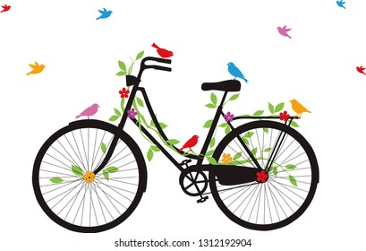 A hand drawn bicycle and birds.