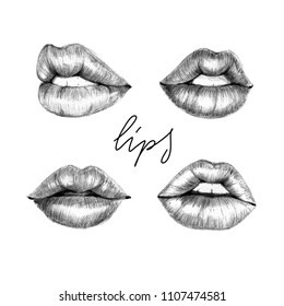 Hand drawn black and white pencil style sketch of sexy lips isolated fashion illustration